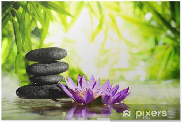 Plakat Spa martwa natura z lotosu i zen kamień na wodzie - Style