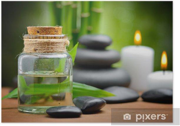 Plakat Spa martwa natura zen kamienie bazaltowe i olej spa na drewno - Uroda i pielęgnacja ciała