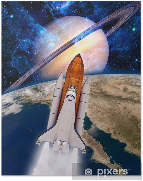 Plakat Space Shuttle Rocket Spaceship - Style