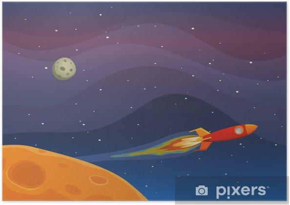 Plakat Spaceship Travel In Space -