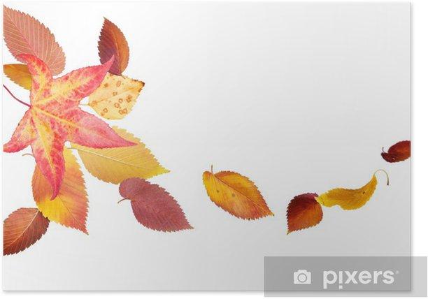 Plakat Spada i przędzenie jesienne liście na białym tle - Pory roku