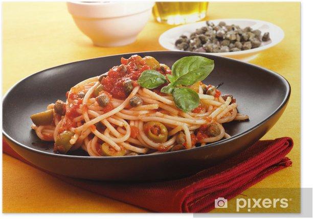 Plakat Spaghetti z sosem pomidorowym - włoski przepis - Tematy