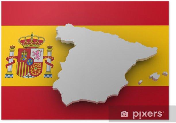 Plakát Španělsko landkarte auf Vlajka - Evropská města