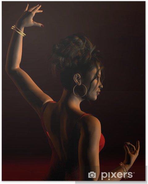 Plakát Španělský flamenco tanečnice na tmavém jevišti - Zábava