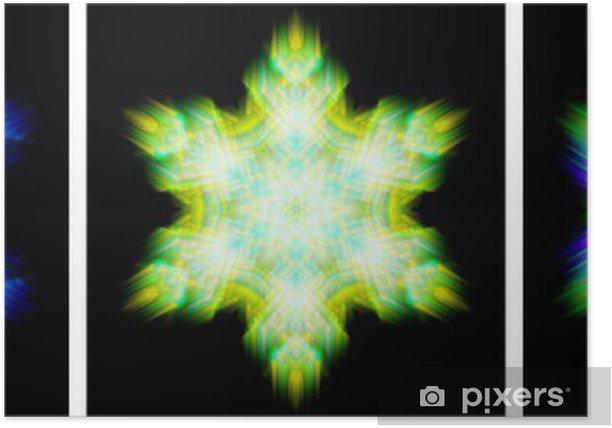Plakat Specyfikacja form krystalizacji wiatr śnieg kalejdoskop - Abstrakcja