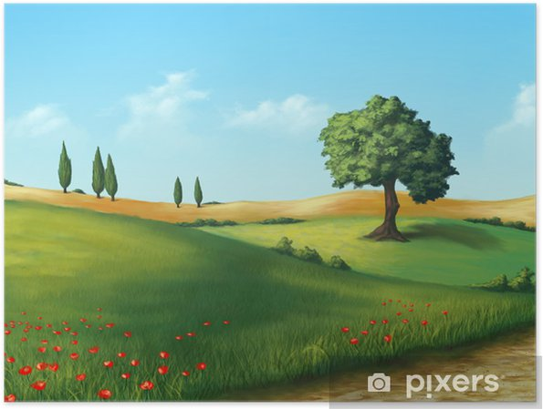 Plakat Spokojny krajobraz - Rolnictwo