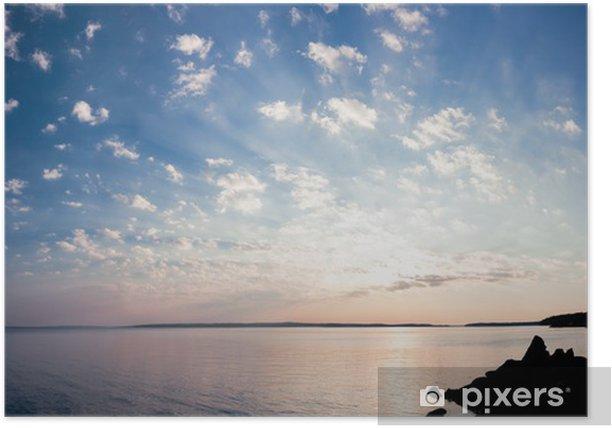 Plakat Spokojny świt panorama jeziora i chmur - Niebo