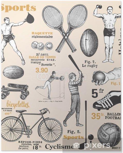 Plakat Sport - Plakat z francuskiego tekstu - Sporty drużynowe