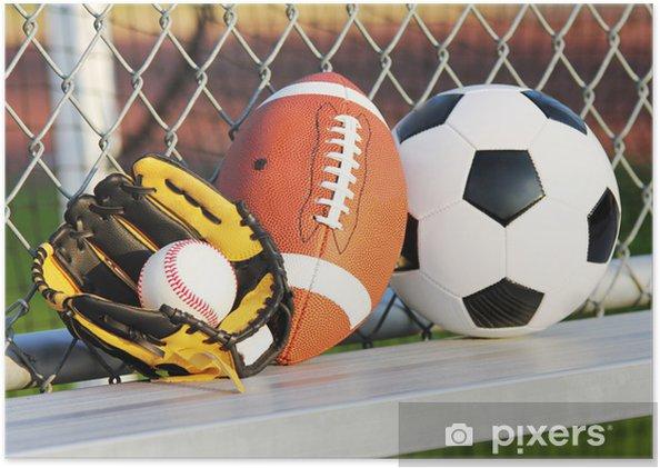 f3332f07a Plakat Sportowe piłki. Piłka nożna, piłka nożna, baseball w rękawicy. Na  dworze