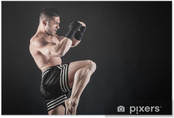 Plakat Sportowiec akcja bokser walczy na czarnym tle. - Tematy