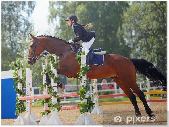 Plakat Sportsmenka na czerwonym koniu. - Sporty indywidualne