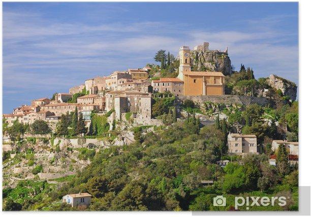 Plakat Średniowieczna górska wioska Eze na Monako - Europa