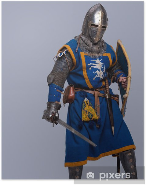 Plakat Średniowieczny rycerz na szarym tle. - Mężczyźni