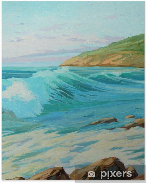Plakat Śródziemnomorski krajobraz z turkusowym fali, ilustracji, farby - Sztuka i twórczość