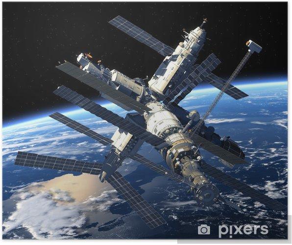Plakat Stacja Kosmiczna orbicie Ziemi - Przestrzeń kosmiczna