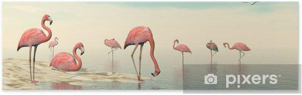 Plakat Stado różowych flamingów - 3D render - Ptaki
