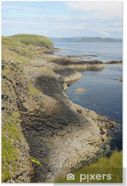 Plakat Staffa Isle of linii brzegu - Woda