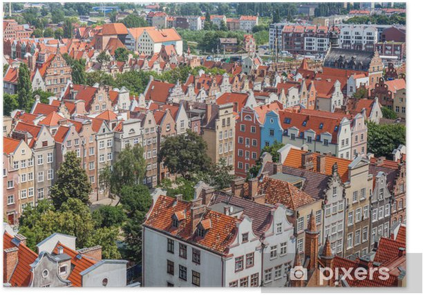 Plakat Stare budynki miasta w centrum Gdańska Polsce - Wakacje