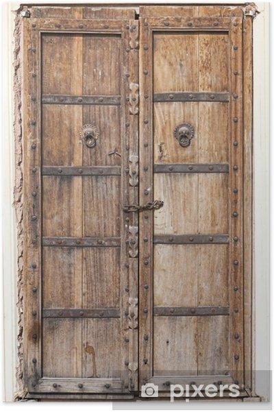Plakat Stare drewniane drzwi - Azja