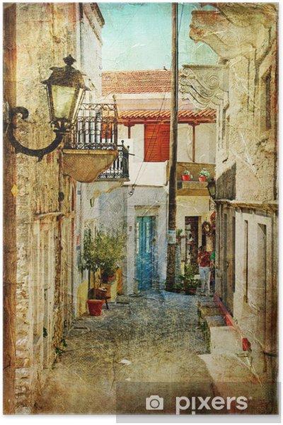 Plakat Stare greckie ulice-artystyczny obraz -