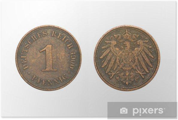 4ac211952 Plakát Staré mince datováno 1900, jeden Pfennig • Pixers® • Žijeme ...