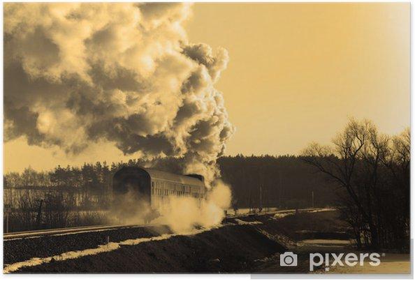 Plakat Stare retro pociąg parowy - Tematy