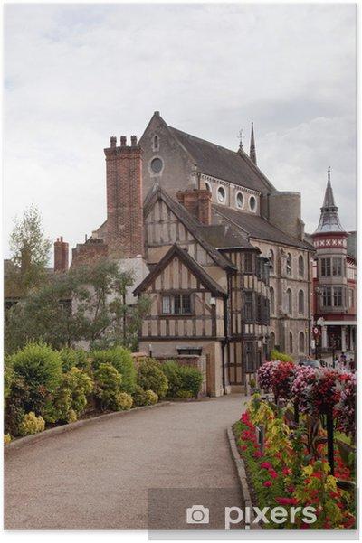Plakat Stare średniowieczne domy w Shrewsbury - Europa