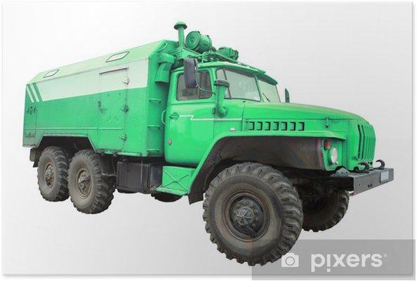 Plakát Staré vojenské nákladní auto - Na cestě