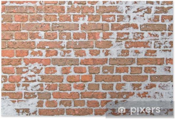 Plakát Staré zasněžených zeď z červených cihel - Témata