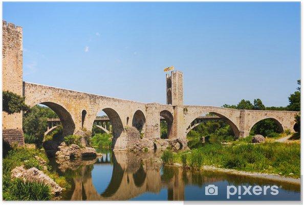 Plakat Starego miasta europejskie z średniowiecznego mostu nad rzeką - Europa
