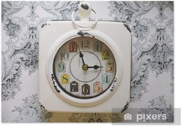 Plakat Starego rocznika zegar na ścianie retro - Zasoby graficzne