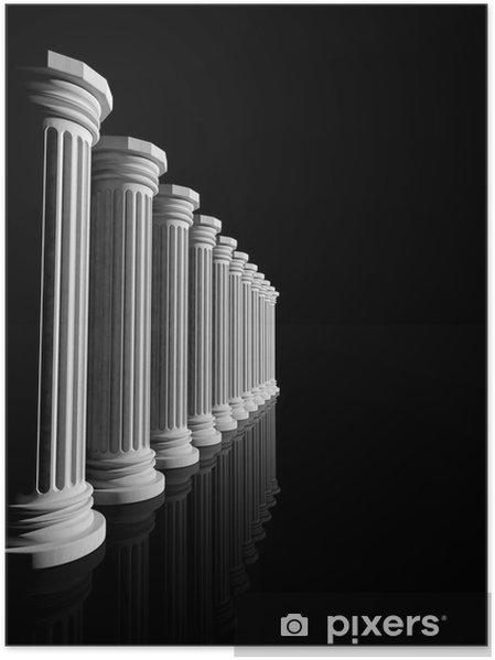 Plakát Starodávné bílé mramorové sloupy v řadě izolovaných na černém - Témata