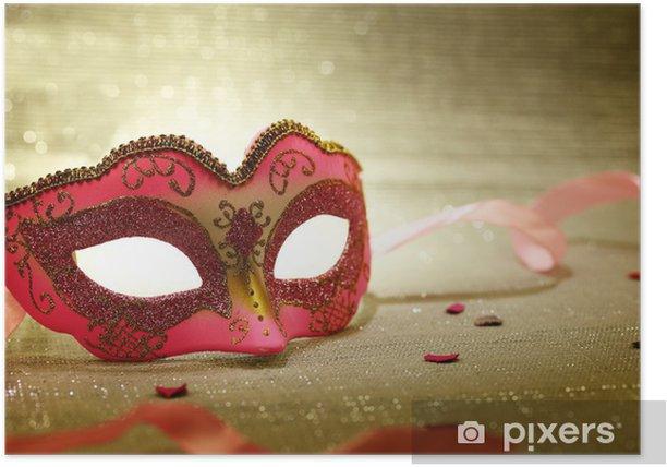 Plakát Starorůžová karnevalové masky - Zábava