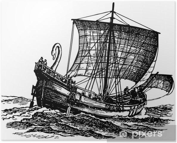Plakát Starověké plachetnice na moři - Lodě