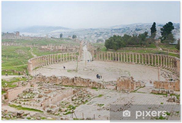 Plakát Starověké římské fórum ovál v antického města Jerash - Střední Východ