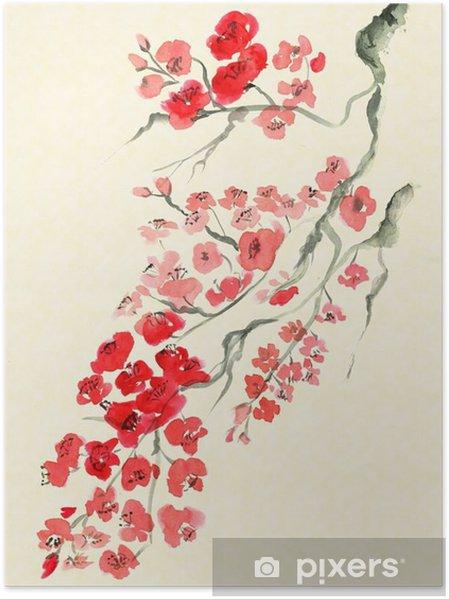 Plakat Starożytna tradycyjny Artystyczny kwiat śliwy - Rośliny i kwiaty