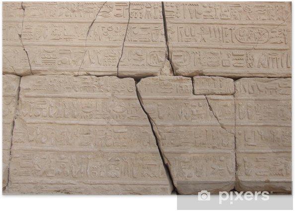Plakat Starożytne hieroglify w świątyni Karnak z Luksor - Afryka
