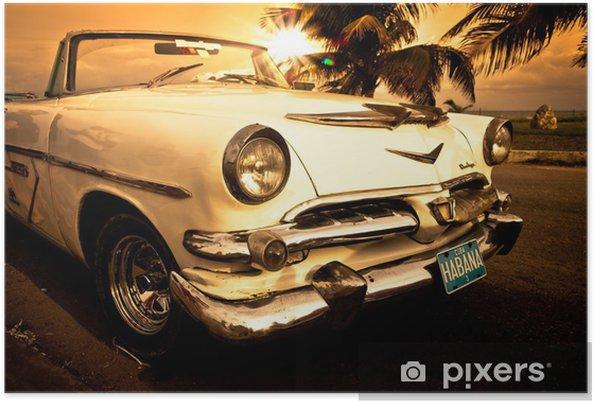Plakat Stary amerykański samochód, Kuba -