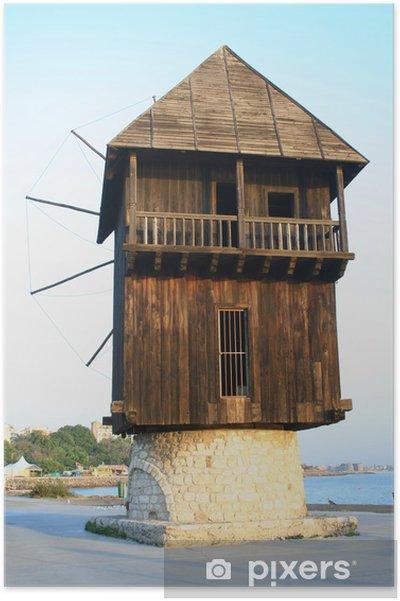 Plakat Stary drewniany wiatrak - Infrastruktura