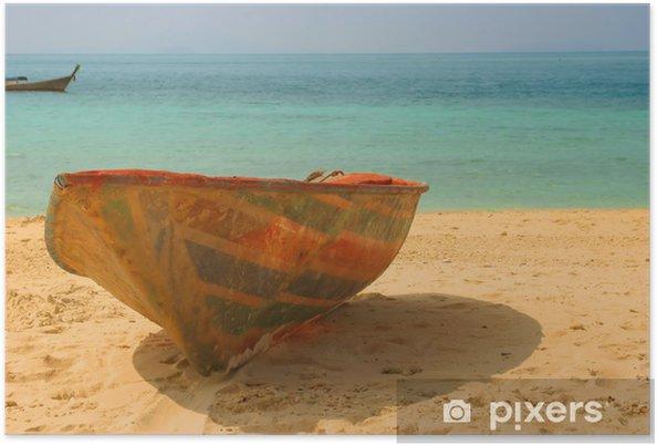Plakát Starý hodil loď na pláži - Prázdniny