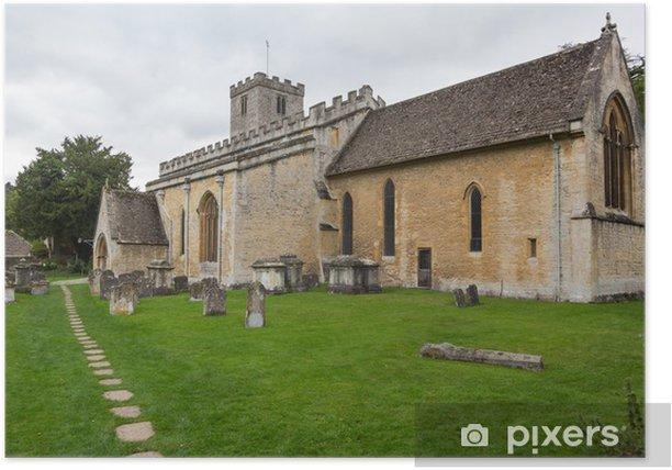 Plakat Stary kościół w Cotswold dzielnicy Anglii - Europa