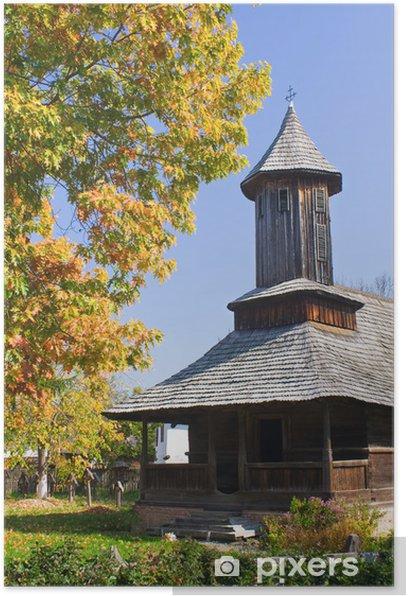 Plakat Stary kościół z drewna, z Rumunii - Europa