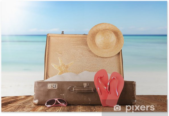 Plakát Starý kufr s příslušenstvím na pláži - Týmové sporty