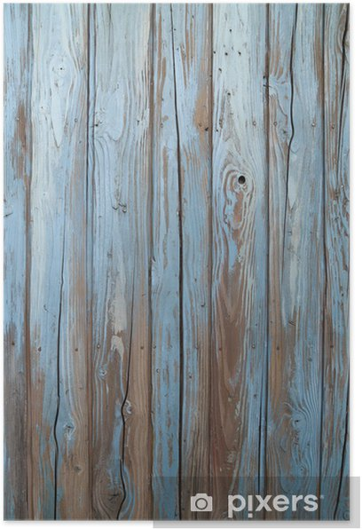 Plakat Stary niebieski, drewno, ściana -