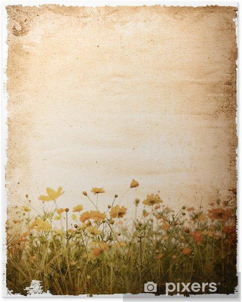 Plakat Stary papier kwiat - z miejsca dla tekstu lub obrazu - Sztuka i twórczość