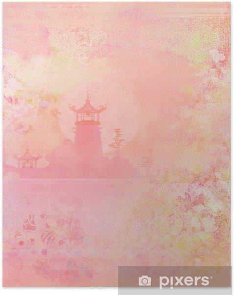 Plakát Starý papír s asijským Terén - Asie