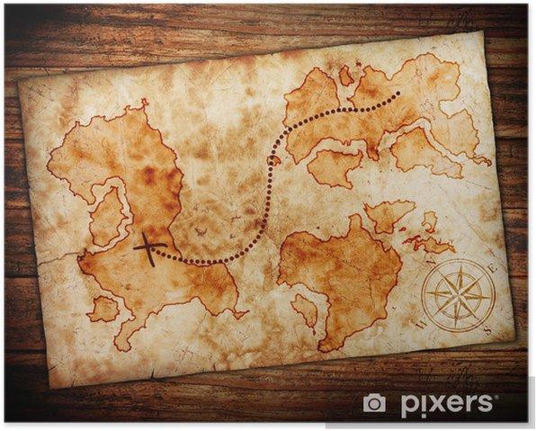 Plakat Stary skarb mapa - Tła