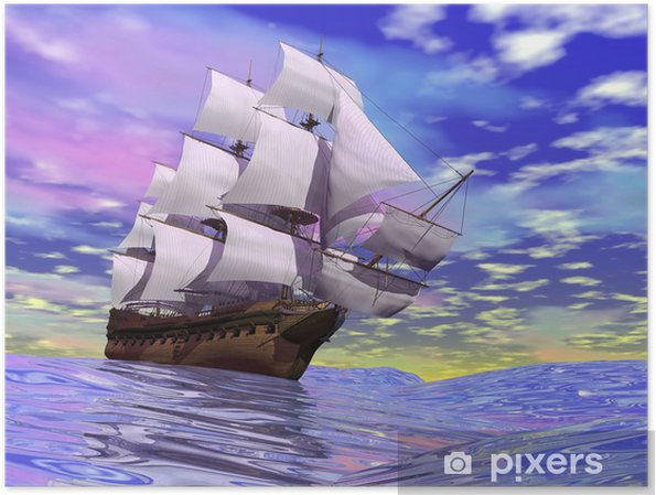 Plakat Stary statek handlowy - 3d render - Tematy
