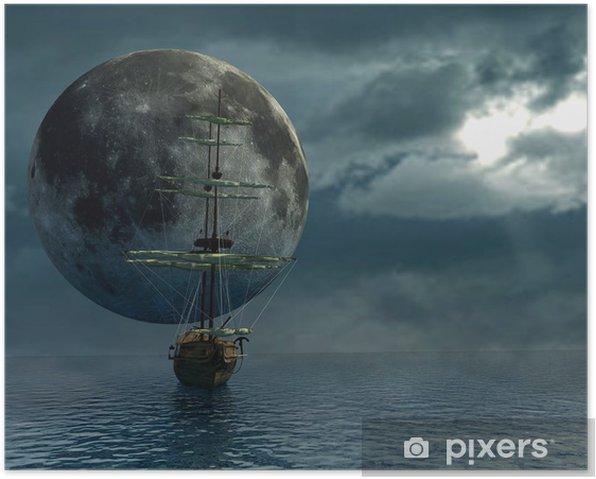 Plakat Stary statek nad oceanem i księżyc - cyfrowe grafiki - Tematy