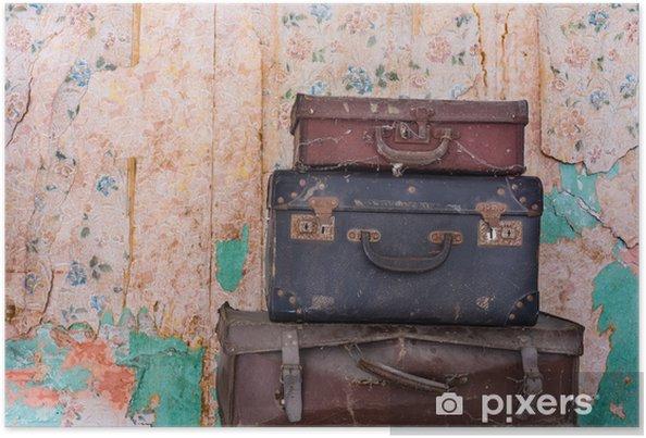 Plakat Stary stos rocznika bagażu, tekstury tła nieczysty ściany - Hobby i rozrywka